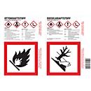 Haftetiketten Otto-/Dieselkraftstoff, zur Kennzeichnung von Gefahrgutbehältnissen, 4er-Bogen