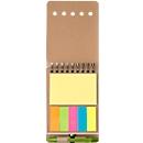 Haftnotizbuch Karton, 60 Blatt liniert, 5 x 20 kleine & 50 große Haftnotizzettel, mit Kugelschreiber, Werbedruck 50 x 35 mm