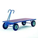 Handtrekwagen zonder boorden, wielen van volrubber, 2500 x 1250 mm