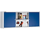Hangkast Alpha, B 1200 x H 500 x D 250 mm, lichtgrijs/gentiaanblauw