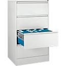 Hangmappenkast B 780 x D 580 x H 1350 mm, plaatstaal lichtgrijs, 4 schuifladen twee rijen + 50 A4-hangmappen, blauw