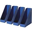 HELIT Tijdschriftenhouder, extra breed, polystyreen, 4 stuks blauw