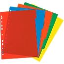 herlitz Ringbuchregister, DIN A4, blanko, Eurolochung, Polypropylen-Folie, farbsortiert, 5-teilig