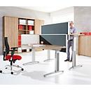 Hinter-Tischtrennwand Schallschutz System 40, höhenverstellbar, B 800-1800 x H 600 mm, grau