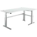 Hoekig bureau 90° comfort, verlenging rechts, 2-traps elektrisch in hoogte verstelbaar, B 2000 mm, lichtgrijs/wit aluminium, 2-traps, 2-traps elektrisch in hoogte verstelbaar