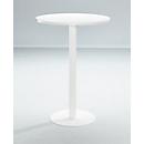 Hoge tafel Papierstroom, rond, met stalen frame, kolomvoet, Ø 80 cm, bestand tegen ontsmettingsmiddelen, wit