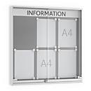 Informatiebord met schuifdeur, 60 mm diep, 3 x 2, aluminium zilverkleurig