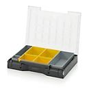 Inzetbak-set voor assortimentsdoos 400 x 300 mm, ABS-kunststof, versch. rasterafmetingen, grijs/geel, 7-delig
