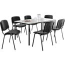 ISO BASIC set: 1 vergadertafel 160 x 800 mm + 6 bezoekersstoelen