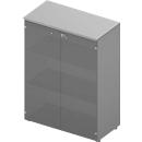 Kast met glazen deuren ARLON OFFICE, 3 ordnerhoogten, glazen deur met omlijsting, B 900 x D 450 x H 1232 mm, lichtgrijs/aluminium