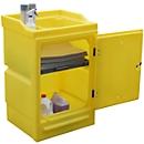 Kast voor gevaarlijke stoffen PWSD kleine recipiënten, wandrek 10 l lekbak 48 l & 16 l, afsluitbaar, PE, geel