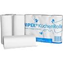 Keukenrol WIPEX, 3-laags, 256 x 224 mm, 8 stuks à 4 rollen met 50 doeken elk, hoog wit