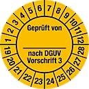 Keuringsvignet, gekeurd door, volgens DGUV voorschrift 3 (2019-2028)