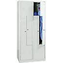 Kledinglocker, 4 compartimenten, met fitting, B 800 x H 1800 mm cilinderslot, lichtgrijs/lichtgrijs