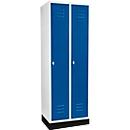 Kledinglocker met 2 compartimenten, 300 mm, draaigrendelslot, met fitting, deur gentiaanblauw