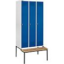 Kleiderspind mit Sitzbank, 3 Abteile, Drehverschluss, lichtgrau/enzianblau