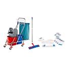 Komplett-Set Doppelfahrwagen, 2 x 17 L Eimer, Kunststoffpresse, 10 Wischbezüge