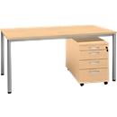 Komplettset NEVADA, Schreibtisch B 1600 mm, Rundrohrfuß + Rollcontainer 4 Schübe, Buche-Dekor