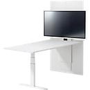 Konferenztisch HV Basic, zweistufig elektr. höhenverstellbar, ohne Monitor,  B1800, weiß
