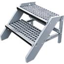 Kunststof trapje in bouwpakket, met roostertreden, 2 treden