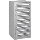 Ladekast SF 90, 9 schuifladen, aluminium zilver