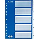 LEITZ® PP-indexbladen met blauw dekblad, cijfers 1-5