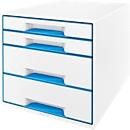 LEITZ® Schubladenbox WOW CUBE 5213, 4 Schübe, DIN A4, Polystyrol, blau