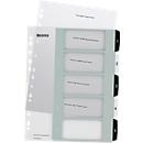 Leitz WOW Register, Kunststoff, schwarz-weiß, DIN A4, Überbreite, 1-5, 5 Taben, transparent