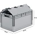 Lichte Eurobox ELB 6320, van PP, inhoud 64 l, met deksel, grijs