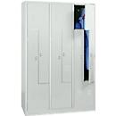 Locker, 6 compartimenten, 6 vakken, Z-deuren, met sokkel, cilinderslot, lichtgrijs