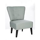 Lounge Sessel BRIGHTON, Stoffbezug, Vintage-Look, Massivholzbeine, hellgrau