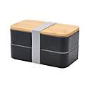 Lunchbox mit Bambusdeckel, Schwarz, Standard, Auswahl Werbeanbringung optional