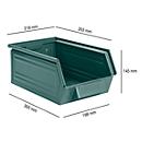 Magazijnbak SSI Schäfer LF 14/7-3Z, staal, L 353 x B 218 x H 145 mm, 8 l, grijsblauw
