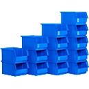 Magazijnbak SSI Schäfer TF 14/7-3Z, polypropeen, L 343 x B 209 x H 145 mm, 7,2 l, blauw