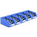 Magazijnbakken serie LF421 SSI Schäfer, stapelbaar, 7,8 l, 5 stuks, met handgreep, blauw