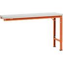 Manuflex aanbouwtafel UNIVERSAL Speciaal, 1500 x 800 mm, melamine lichtgrijs, roodoranje
