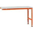 Manuflex aanbouwtafel UNIVERSAL Standaard, 1500 x 800 mm, melamine lichtgrijs, roodoranje