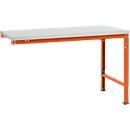Manuflex Ansatztisch UNIVERSAL Spezial, Tischplatte Melamin, 1500x1000, rotorange