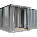 Materiaalcontainer MC 1200, gegalvaniseerd, ongemonteerd, met houten bodem