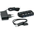 MediaRange USB 3.0-Hub, 4-fach, schaltbar
