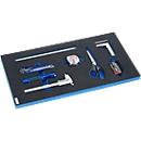 Meet- en snijset in hardschuiminleg, 8-delig, voor kastenserie FS4, afmetingen 299 x 437 mm