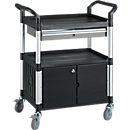 Mehrzweck-Tischwagen mit 1 Schublade und 1 Schrank, schwarz