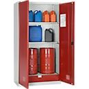 Milieukast SSI Schäfer, voor olie e.d., 2 x 60 l vaten en 8 x 20 l bussen, B 1055 x D 520 x H 1950 mm, l.grijs/rub.rood