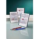 Mini-3-Monats-Kalender, Tischaufsteller, mit Datumsweiser, B 127 x H 165 mm, Werbedruck 90 x 20 mm, blau/weiß