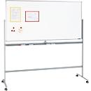 Mobiles Whiteboard, mit drehbarer Tafel, mit 4 Lenkrollen, 900 x 1200 mm
