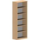 NEVADA boekenkast, 6 OH, B 800 x D 445 x H 2220 mm, beukendecor