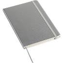 Notizbuch Carb, A5, 80 Blatt liniert, Gummiband-Verschluss & Leseband, Werbedruck 70 x 25 mm, silbern
