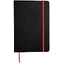 Notizbuch Lector, DIN A5, blanko, 70g/m², 80 Seiten, Tampondruck 50 x 20 mm, schwarz/rot
