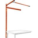 Opbouwframe met giek, Aanbouwtafel STANDAARD werktafel-/werkbank UNIVERSAL/PROFI, 1250 mm, roodoranje