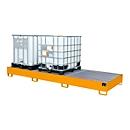 Opvangbak AW 1000-3, voor 3 IBC-containers à 1000 l of 10 vaten à 200 l, L 3850 x B 1300 x H 340 mm, toegankelijk voor rolstoelgebruikers, geel-oranje